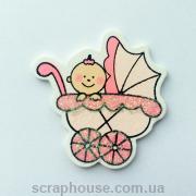 Деревянная аппликация  Малыш в розовой коляске с глиттером