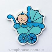 Деревянная аппликация  Малыш в голубой коляске с глиттером