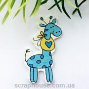 Деревянная аппликация-пуговица жирафчик голубой