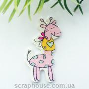 Деревянная аппликация-пуговица жирафчик розовый