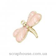 Металлическое изящное украшение Подвеска-талисман стрекоза, розовая эмаль, размер 2,7х2,1 см.