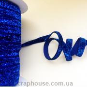 Лента велюровая с люрексом синяя