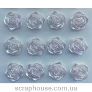 Самоклейки розы серебряно-сиреневые 12 шт.