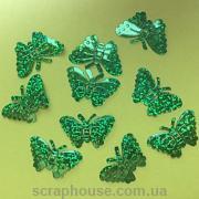 Бабочки пайетки зеленые объемные голограммные