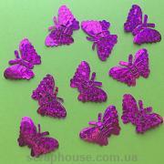 Бабочки пайетки розовые объемные голограммные