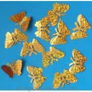 Бабочки пайетки золотые объемные голограммные