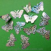 Бабочки пайетки серебряные голограммные
