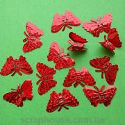 Бабочки пайетки красные объемные голограммные