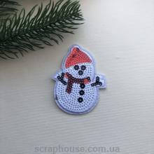 Термонаклейка на одежду, модный термопатч Снеговик в пайетках