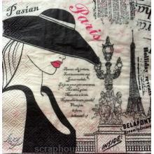 "Салфетка для декупажа ""Парижанка"""