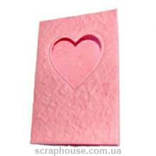 Заготовка для открытки с окошком в виде сердца розовая