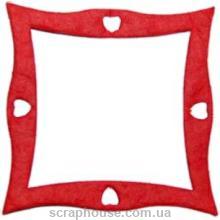 Рамка для фото квадратная изогнутая красная, размер 7 см, материал Mulberry paper