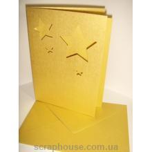 Заготовка для открытки со звездами золотая