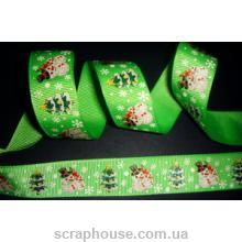 Лента репсовая новогодняя зеленая