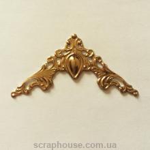 Уголок ажурный металлический, золото, размер 4,1х4,1 см.