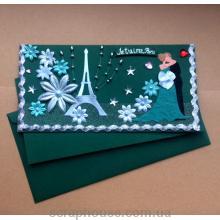"""Готовая открытка ручной работы """"Je t'aime, Paris"""""""