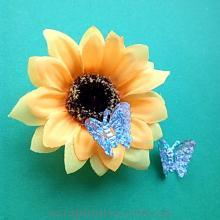 Бабочки пайетки серебряные, голограммные
