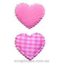 Аппликация Сердечки в клеточку розовые