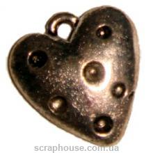 Подвеска металлическая Сердечко в горошек