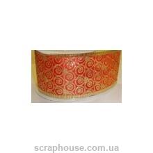 Лента из органзы красная Завитушки, плотная, на проволоке, ширина 4,0 см
