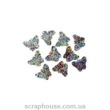 Пайетки Бабочки серебряные голограммные