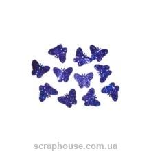 пайетки бабочки синие