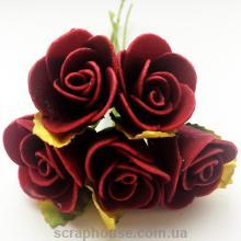 Розы бордовые с бумажными листиками
