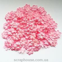 Цветочки маленькие розовые текстильные с круглыми лепестками