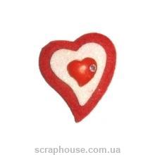 Аппликация из фетра Сердечко красное с белым