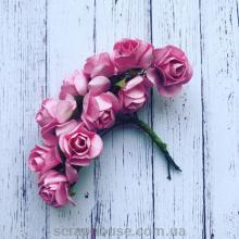 Розы бумажные розовые для скрапбукинга 12 шт