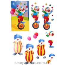 """3-D Мотив """"Клоуны"""" для создания объемного украшения открыток, коробочек, альбомов и др.."""
