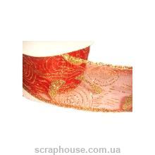 Лента из органзы красная Новогодние узоры, на проволоке, ширина 5,0 см
