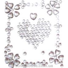 Стразы-стикеры на клеевой основе Сердечки серебряные