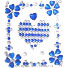 Стразы-стикеры на клеевой основе Сердечки синие