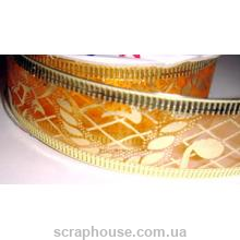 Лента из органзы оранжевая Рождественская, на проволоке, ширина 2,5 см