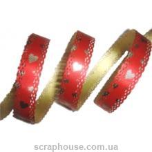 Лента ажурная с сердечками золотисто-красная