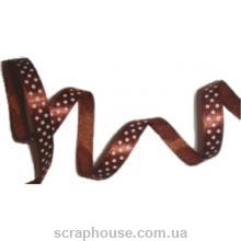 Лента атлас коричневая в горошек