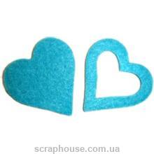 Сердечки голубые фетровые