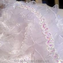 Лента-рюшик белая с декоративной вставкой