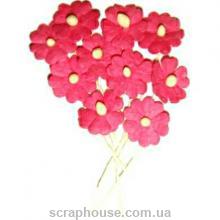 Цветочки цвета фуксии 10 шт, размер бутона 1,2 см, материал Mulberry paper, пр-во Таиланд.