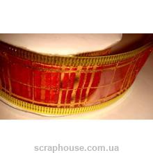 Лента из органзы красная Золотая клеточка, на проволоке, ширина 3,8 см