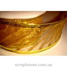 Лента из органзы кремовая Золотая полоска, на проволоке, ширина 3,8 см