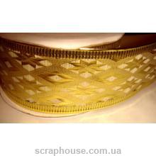 Лента кремовая парча Золотой орнамент, на проволоке, ширина 3,8 см