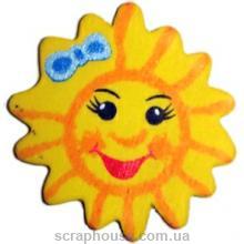 Деревянная аппликация Солнышко с голубым бантиком