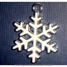 Снежинка белая подвеска металлическая с эмалью
