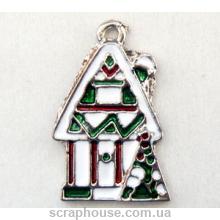 Рождественский домик металлическое украшение с эмалью