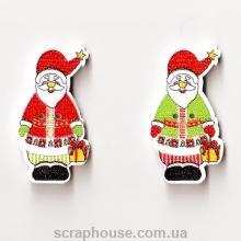 Деревянная аппликация Санта Клаус с подарком