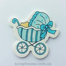 Деревянная аппликация  Детская коляска голубая