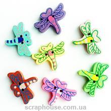 Деревянные аппликации-пуговицы Стрекозы разноцветные