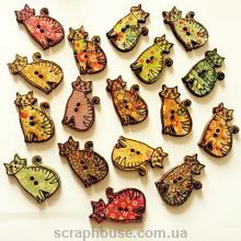 Деревянная аппликация-пуговица Кошка расписная, 3,0х1,7 см.